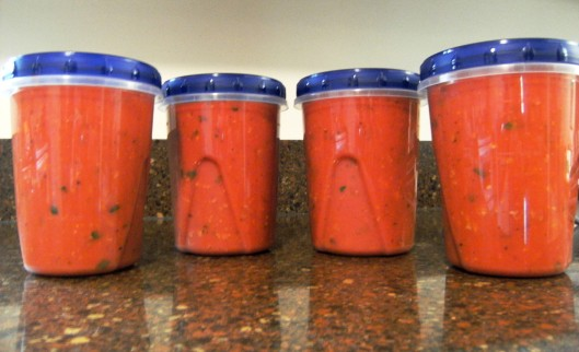packaged tomato sauce for the freezer