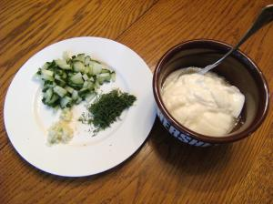 Ingredients needed for homemade tzatziki (cucumber-dill) sauce