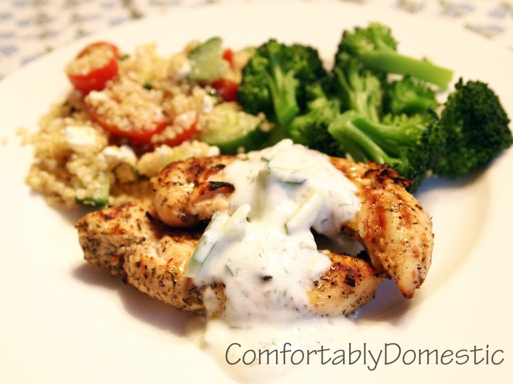 Mediterranean Grilled Chicken with Homemade Tzatziki Sauce | ComfortablyDomestic.com
