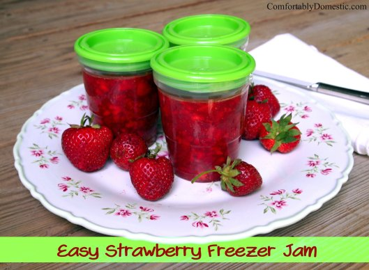 Easy Strawberry Freezer Jam | ComfortablyDomestic.com