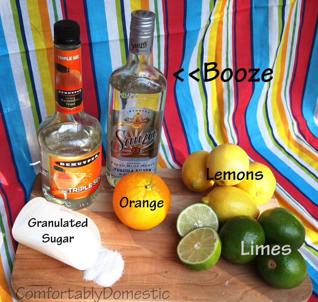 Ingredients for classic margaritas