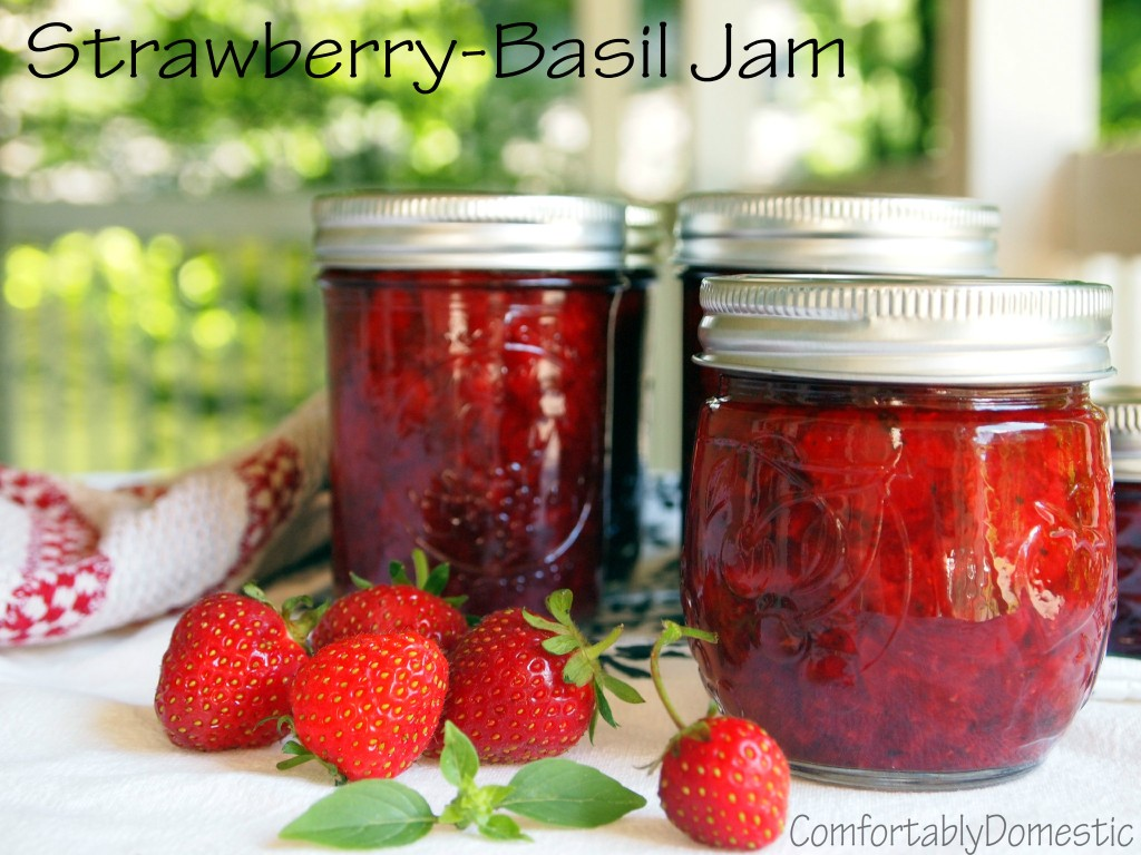 No sugar added strawberry-basil jam transforms summer's freshest strawberries and fresh basil into a delicious, naturally sweetened condiment. | ComfortablyDomestic.com
