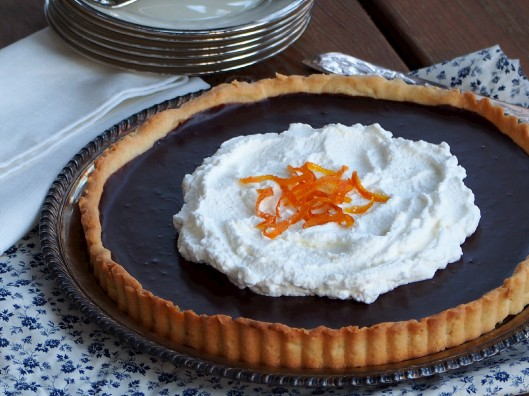 Chocolate Orange Tart with Crystallized Ginger Whipped Cream and Candied Orange Peels via ComfortablyDomestic.com