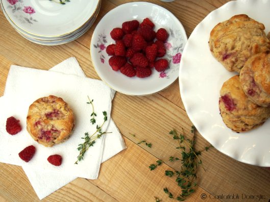 Raspberry, Thyme and Goat Cheese Biscuits | ComfortablyDomestic.com