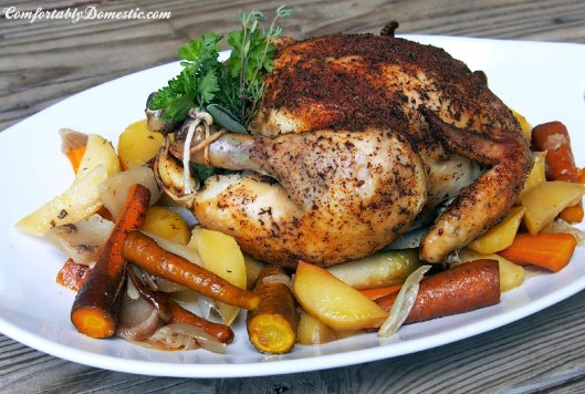 Slow Cooker Chicken with Root Vegetables | ComfortablyDomestic.com