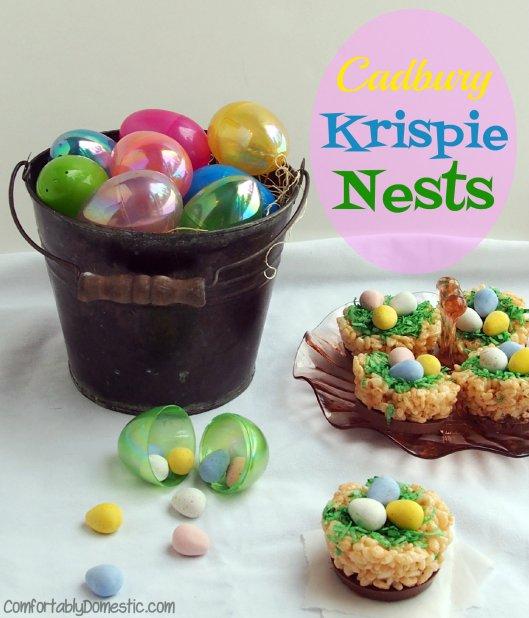 Cadbury Mini Eggs Krispie Nests | ComfortablyDomestic.com