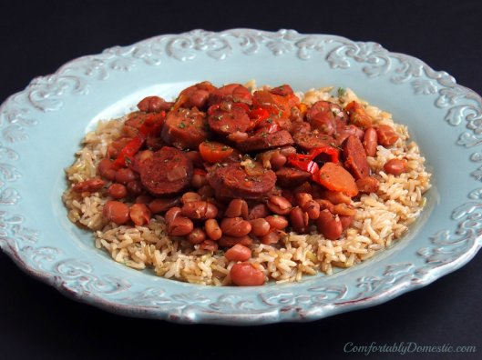 Crock Pot Chicken Andouille Beans and Rice | ComfortablyDomestic.com