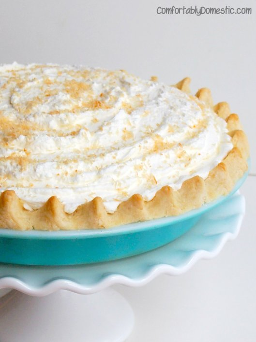 Gluten Free, Sugar Free Coconut Cream Pie from ComforablyDomestic.com