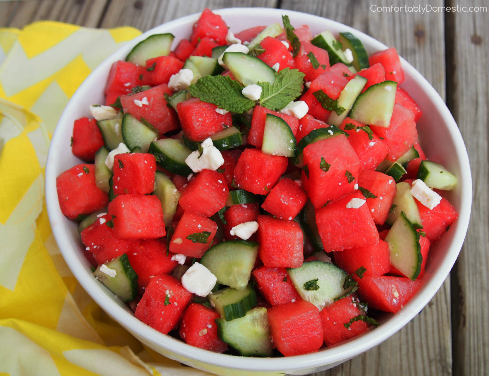 Watermelon Cucumber Salad with Feta, Lime, and Mint is an ...