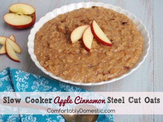 Slow Cooker Steel Cut Apple Cinnamon Steel Cut Oats | ComfortablyDomestic.com