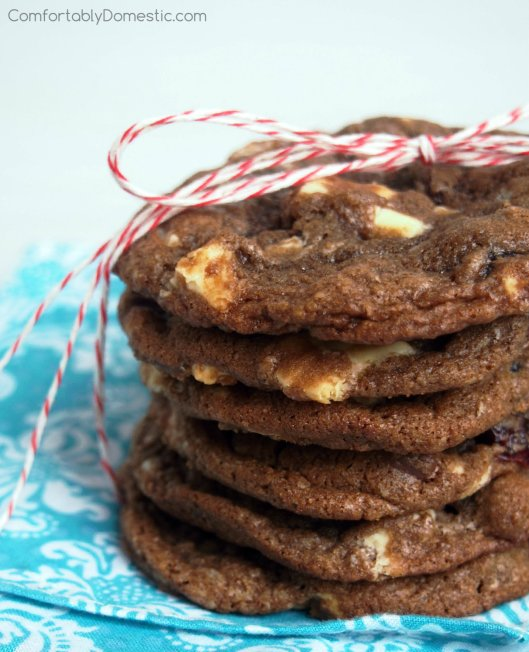 Dark Chocolate Cranberry Cookies with White Chocolate Chunks | ComfortablyDomestic.com are crisp yet chewy, rich and chocolaty cookies with tangy dried cranberries and smooth white chocolate chunks.