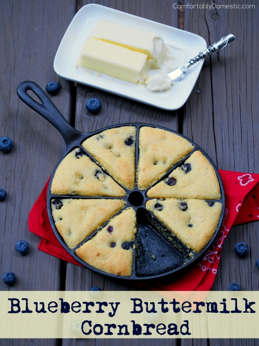 Blueberry Buttermilk-Cornbread | ComfortablyDomestic.com